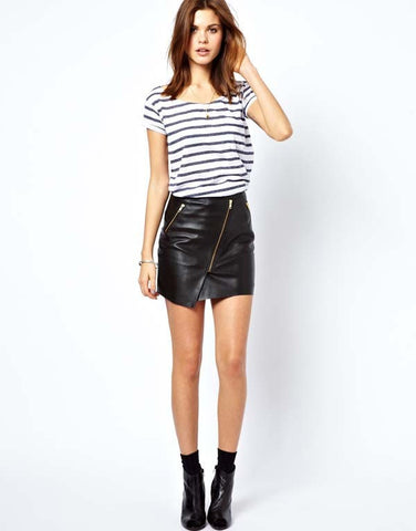 Solid Zipper Decorated Asymmetrical Mini Skirt