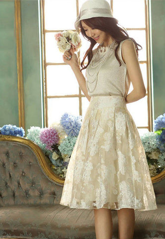 Elegant Printed Pattern Knee-Length A-Line Chiffon Skirts - 2 Colors