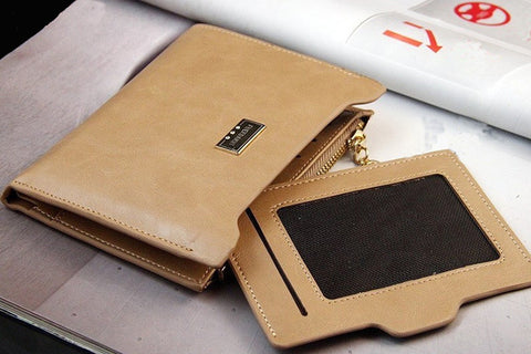 Solid Clutch Genuine Leather Wallets with Zipper Closure
