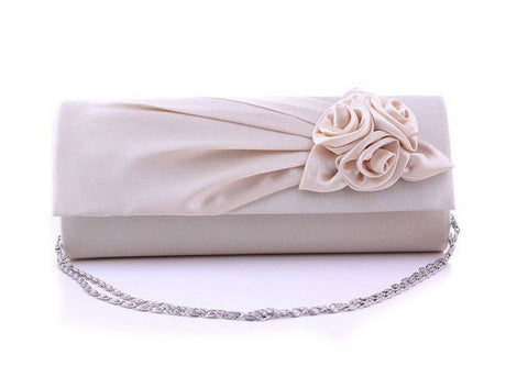 Soft Satin Flower Decorated Medium with Chain Day Clutches