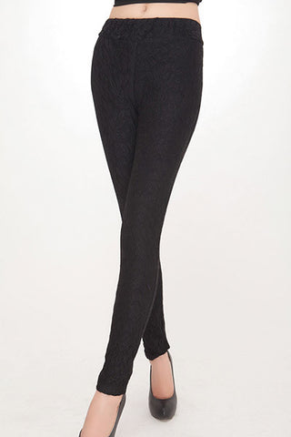 Solid Mid Waist Ankle-Length Knitted Fabric Slim Pants