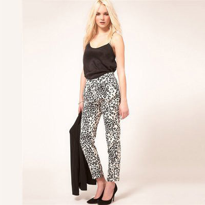Sexy High Elastic Waist Leopard Patterned Flat Front Loose Fit Cross-Pants