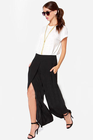 Solid Chiffon Mid Waist Flat Front Loose Fit Flare Pants