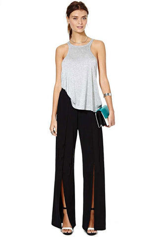 Sexy Hollow Out Chiffon Mid Elastic Waist Flat Front Loose Fit Pants with Split on Sides
