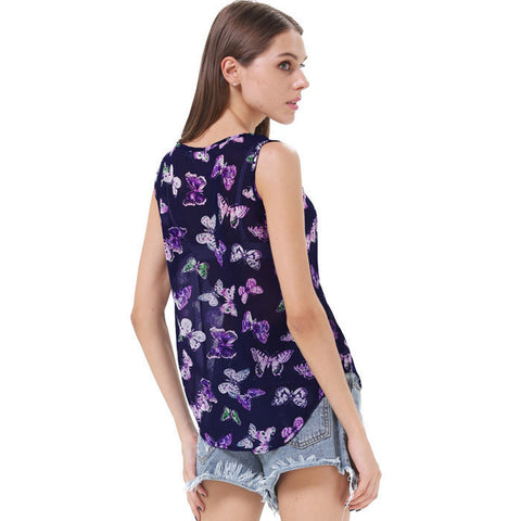 Floral Butterfly Printed Regular Length Tank Tops
