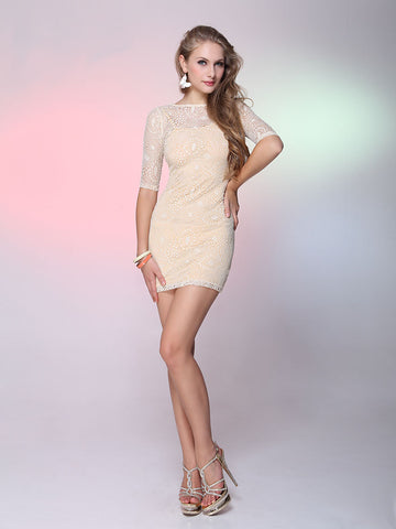 Natural Half Sleeve O-Neck Hollow Out Casual Dress