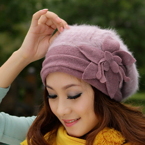 Flower Crochet Knitted Rabbit Fur Cap