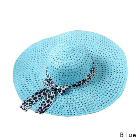 Solid Beach Cap Bow Ribbon Hats with Wide Brim