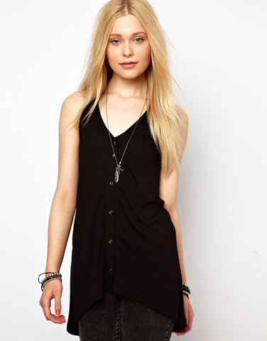 Asymmetrical Designed Solid Hollow Out Long Tank Tops