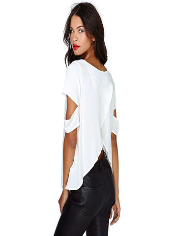 Solid O-Neck Short Hole Sleeve Blouse