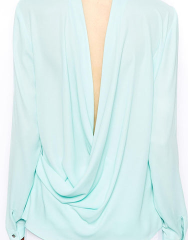 Deep V-Neck Notched Collar Full Sleeve Chiffon Blouse