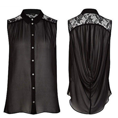 Sexy Drape Lace Turn-down Collar Sleeveless Shirts