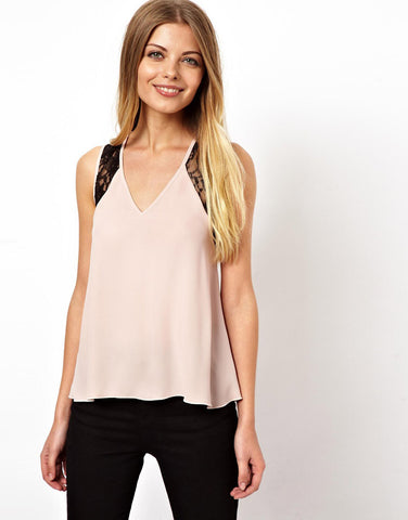 Sexy V-Neck Collar Sleeveless Lace Chiffon Shirts