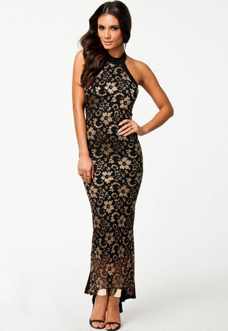 Lace Decorated Ankle-Length Halter Neckline Sleeveless Evening Dress