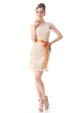 Natural O-Neck Sashes Decorated Dress