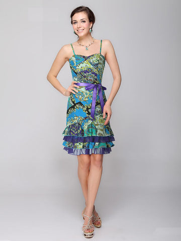 Bow Decorated Printed Pattern Empire Waistline Sleeveless Casual Dress