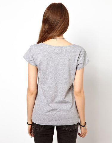Solid Short Puff Sleeve O-Neck Collar T-Shirt