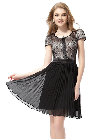 Regular Sleeve O-Neck Chiffon Dress