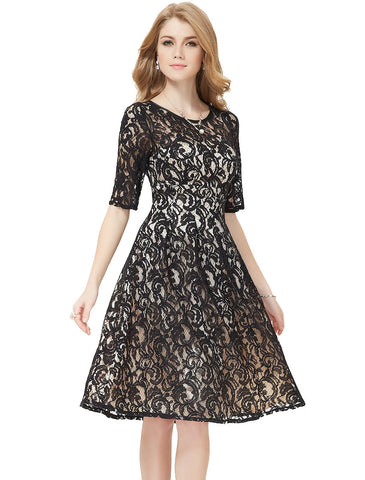 Lace Decorated Empire Waistline Knee-Length Half Sleeve Dress