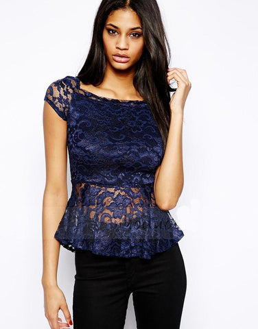Solid O-Neck Lace Decorated Elastic Regular Short Sleeve Blouses