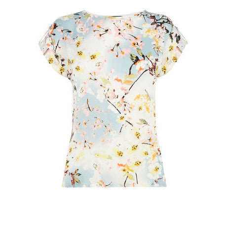 Floral Peach Blossom Printed O-Neck Regular Short Sleeve Tops