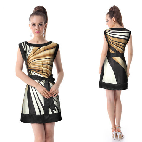 Brown Striped Sleeveless Mini Dress