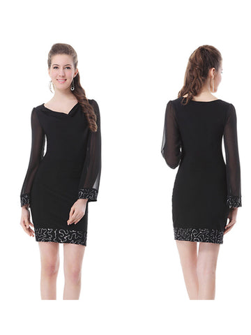 Mini Scoop Neck Long Sleeve Party Dress