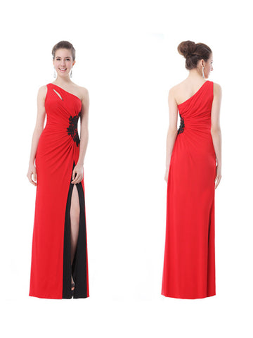 One-Shoulder Sleeveless Ruched Waist Slitted Ankle Length Party Dress