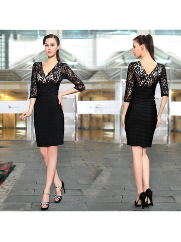 Knee-Length Double V-neck Three Quarter Cap Sleeve Party Dress