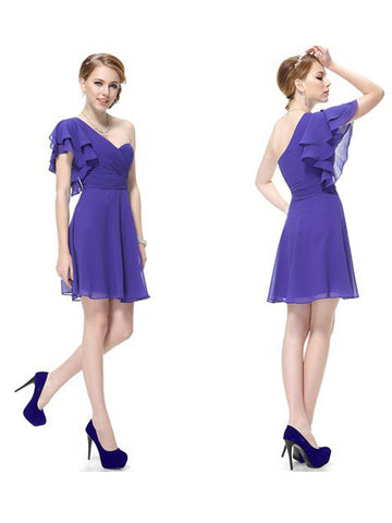 Mini One-Shoulder Blue Sweetheart Neck Short Butterfly Sleeved Party Dress