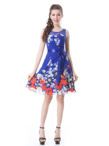 Mini Chiffon Round Nekcline Floral Printed Sleeveless Party Dress