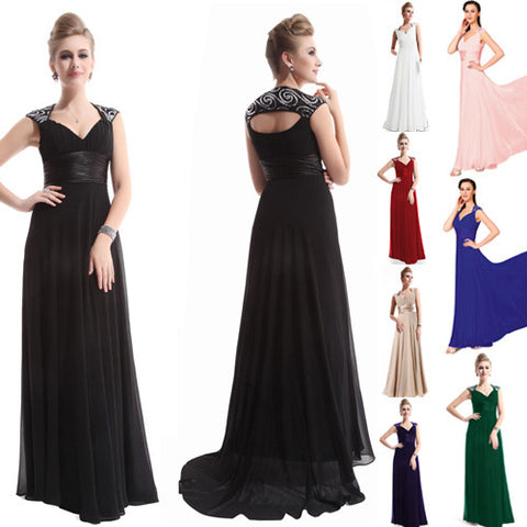 Sexy Sequined V-Neck Sleeveless Chiffon Ankle Length Evening Dress - 8 Colors