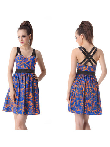 Short Printed Sweetheart Neck SleevelessDress