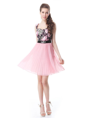 Short Semi Formal Floral Print Belted Sweetheart Neck Sleeveless Off the Shoulder Dress