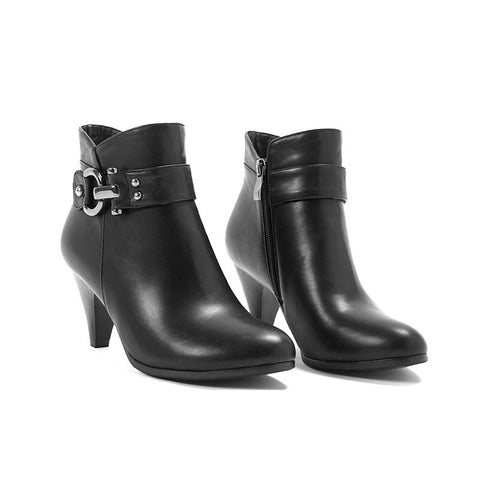 Genuine Leather Round Toe Spike Heel Ankle Boots