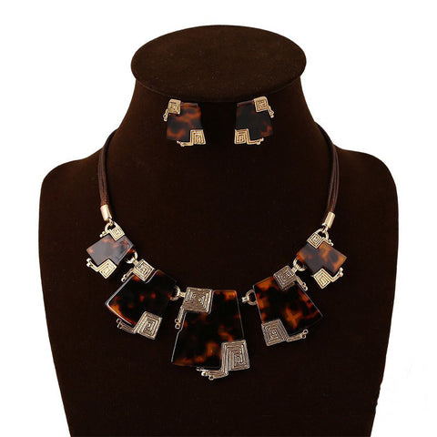 Elegant Metal Oil-Drop Necklace and Earrings Jewelry Set