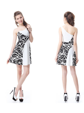 Mini One Shoulder Sleeveless Animal Print Dress