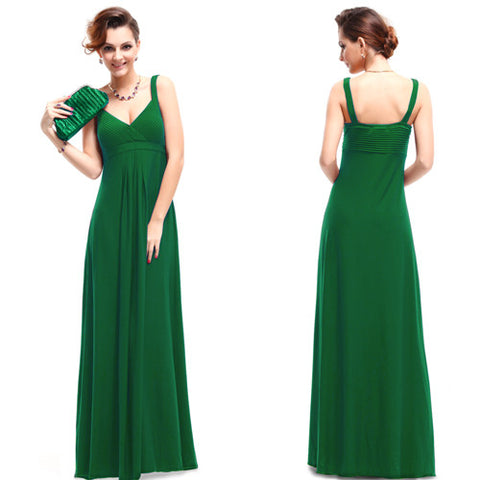 Sexy Ankle-Length Sleeveless V-Neck Evening Dress - 5 Colors