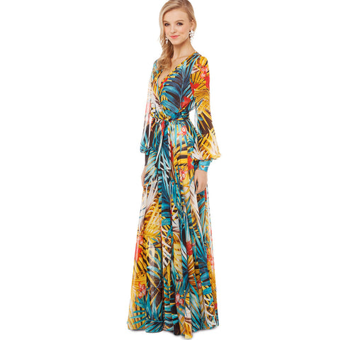 Tropical Ankle Length Long Sleeve Flowers Printed Maxi Dress