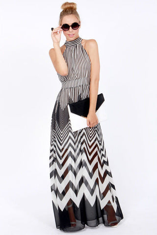 Elegant Sleeveless Ankle Length Turtleneck Striped Pattern Maxi Dress