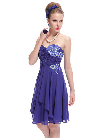 Short Sweetheart Neck Strapless Lacey Ruched Party Dress