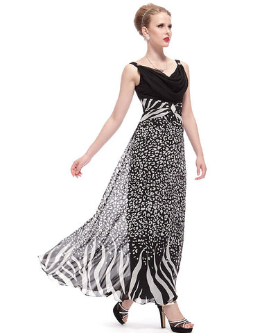 Sexy Ankle-Length Animal Printed V-Neck Party Dress