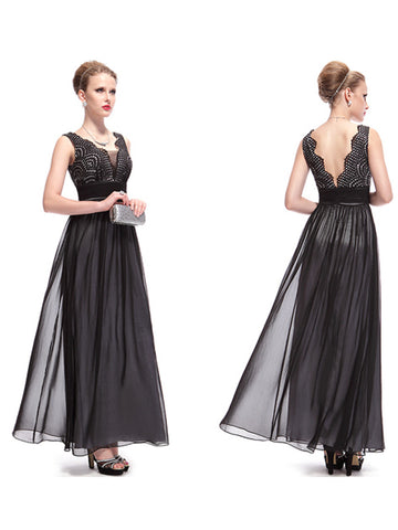 Double V-neck Ruched Waist Long Dress