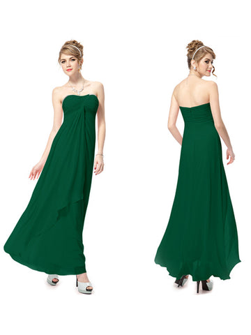Hot Strapless Ankle-Length Sleeveless Ruffles Evening Dress