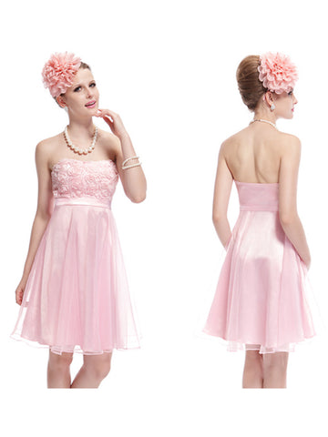 Cute Mini Pink Flower Padded Strapless Party Dress