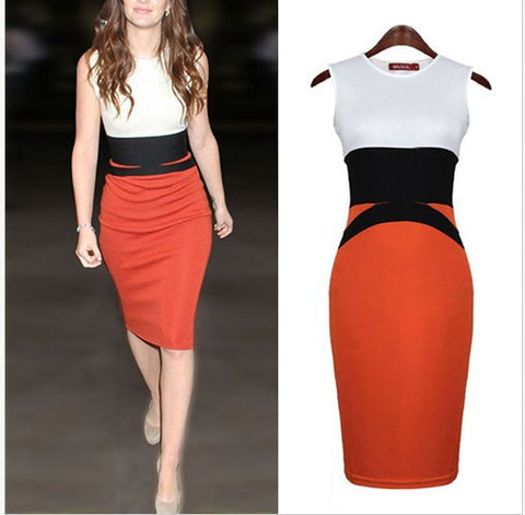 Sexy Knee-Length O-Neck Sleeveless Bodycon Dress