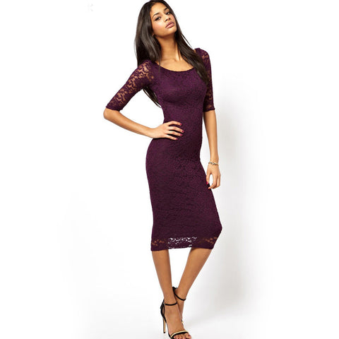 Slim Mid-Calf O-Neck Regular Sleeve Lace Dress