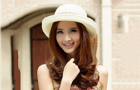 Solid Straw Bow Knot Sun Shading Hats - 4 Colors