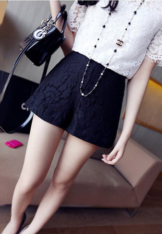 Solid Mid Waist Zipper Fly Lace Decorated Flat Front Cross-Pant Slim Shorts - 2 Colors