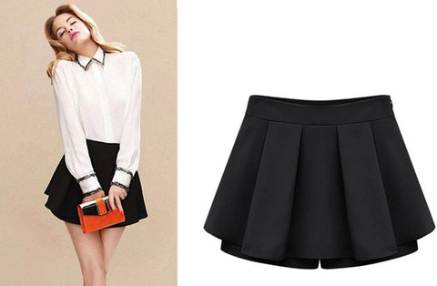 Solid Thin High Waist Ruffles Decorated Zipper Fly Pleated Short Skirt